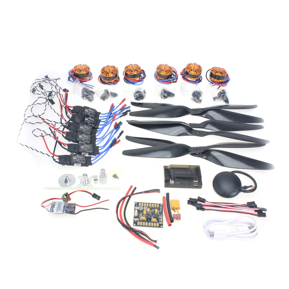 F15276-A RC HexaCopter Aircraft Electronic Kit :700KV Brushless Motor 30A ESC 1255 Propeller GPS APM2.8 Flight Control DIY Drone 4pcs 6215 170kv brushless outrunner motor with hv 80a esc 2055 propeller for rc aircraft plane multi copter