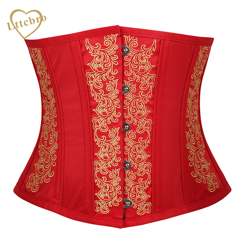 Red Underbust   Corset   Girdle Waist Trainer Embroidery Steel Boned   Corset   Top   Bustier   Embroidery Flower Design