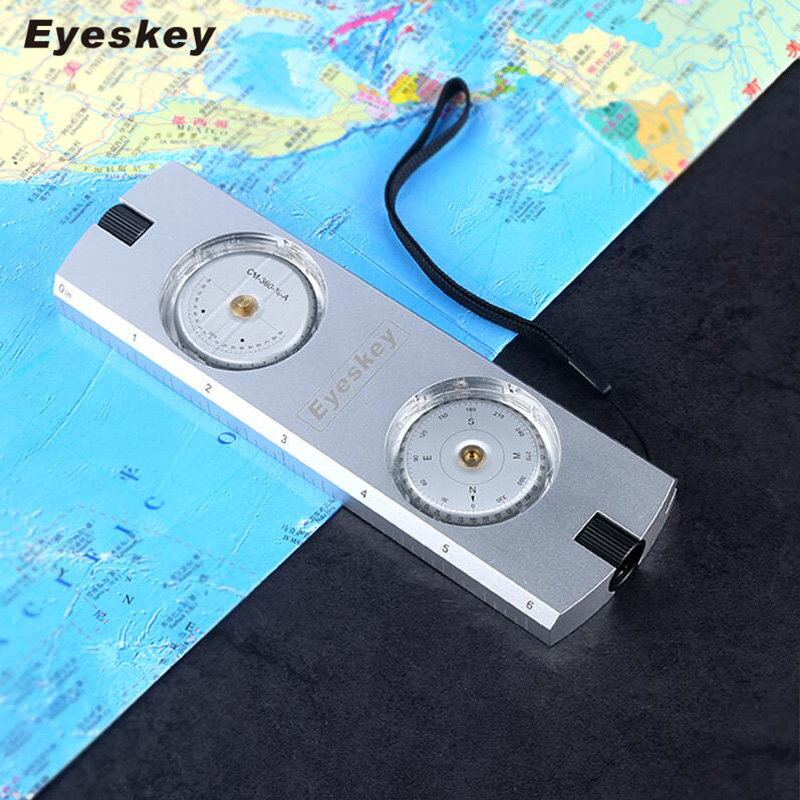 Eyeskey Professional Multi functional Survival Aluminum Sighting Compass Clinometer Slope Height Measurement Compass Free Ship globe shaped aluminum shell precise compass