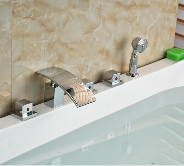 Modern Chorme Bathtub Faucet 5pcs Mixer Tap Deck Mounted Shape Tap Three Handles цена