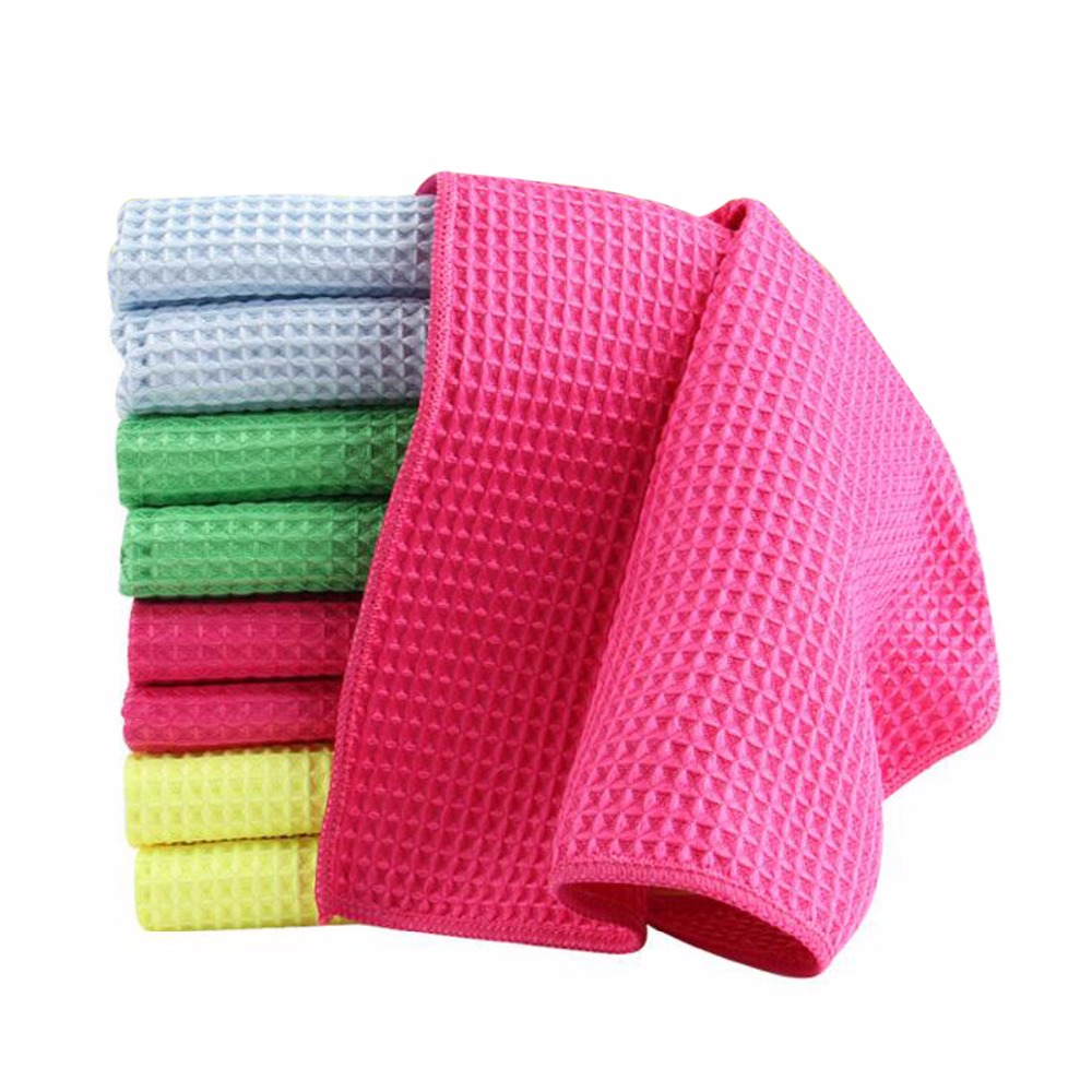 US $6.64 5% OFF|28x38cm Water Absorption Waffles Microfiber Cleaning Cloths  Set Dish Towels Kitchen Scouring Pad Glass Washing Drying Mats 6P-in ...