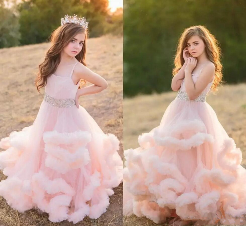 Pink Cloud Princess Spaghetti Straps Flower Girls Dresses Pleated Tulle Ruffles Floor Length Children Birthday Party Dress