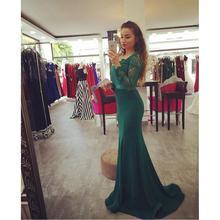 Long Sleeve Emerald Green Prom Dress 2017 Custom Made Formal Women Evening Gowns Vestido De Baile