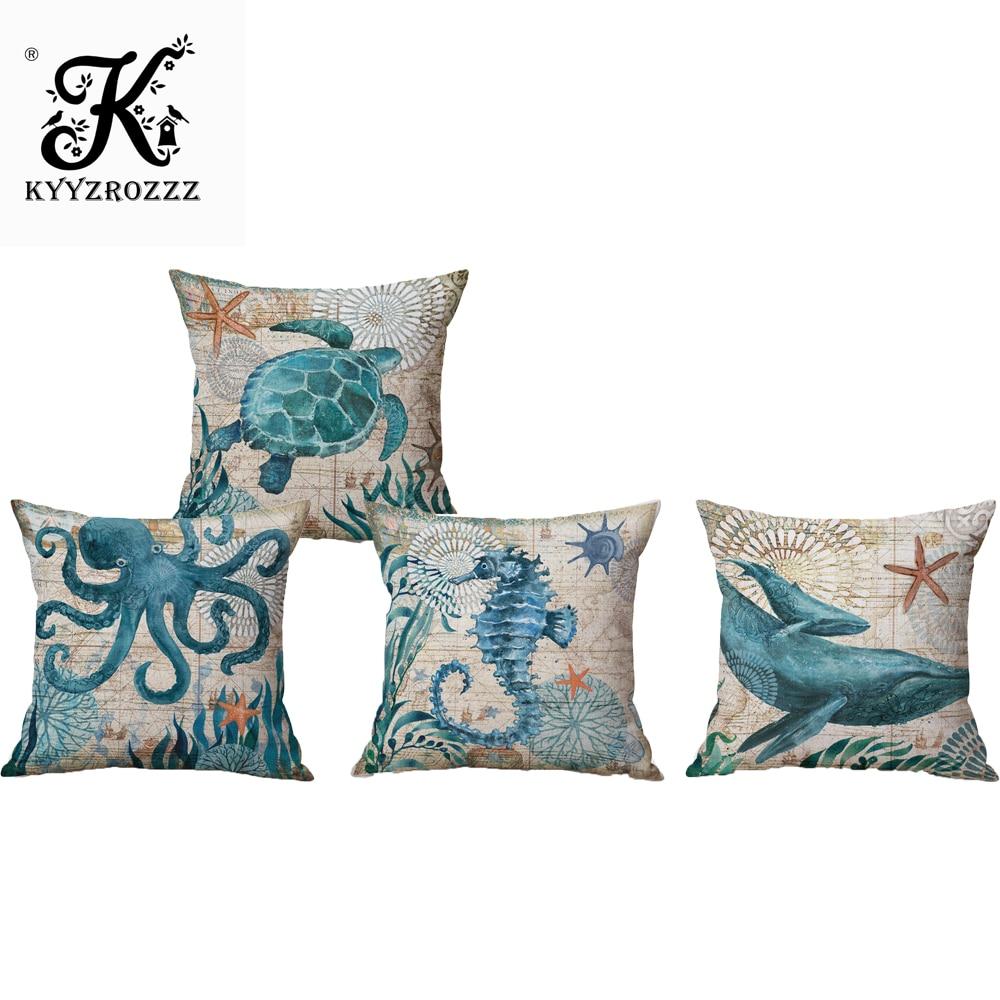 European Style Retro Linen Cotton Pillows Covers Marine Biological Pillowcase Home Furnishing Mediterranean Cushion Cover