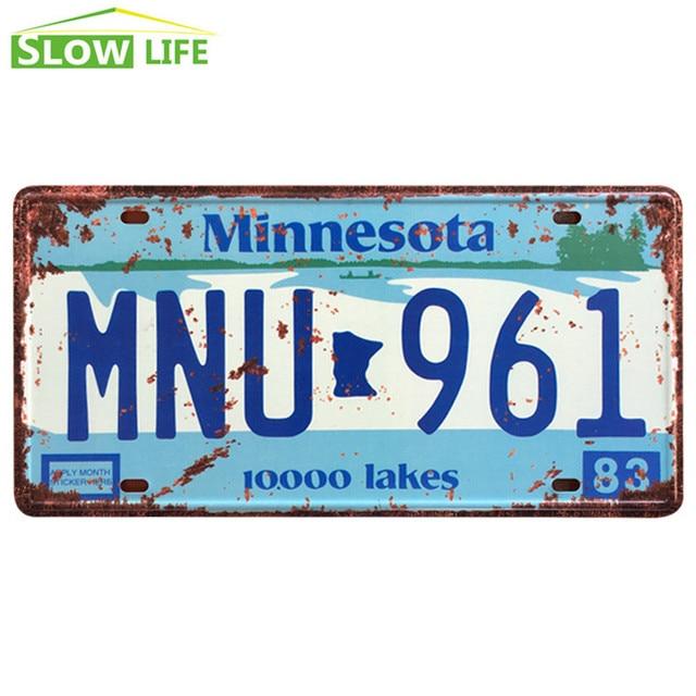 Minnesota MNU 961 Car Metal Lice nse Plate Metal Tin Sign Vintage ...