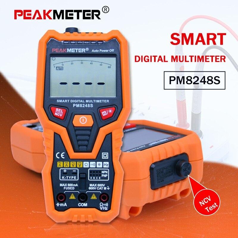 Peakmeter PM8248S Цифровой мультиметр 6000 отсчетов multimetro измеритель емкости НТС/live тестер с удержания данных подсветка дисплея