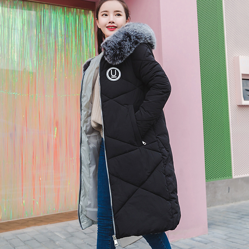 2017 Winter Jacket Coat Women Parkas Long Fashion Fur Collar Female Warm Clothes Solid Outwear New Windbreak Jacket 2017 winter new clothes to overcome the coat of women in the long reed rabbit hair fur fur coat fox raccoon fur collar