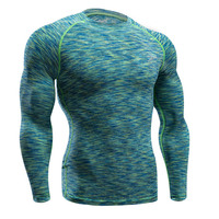 Mens Compression Shirts Bodybuilding Skin Tight Long Sleeves T Shirts Clothings MMA Crossfit Exercise Workout Fitness