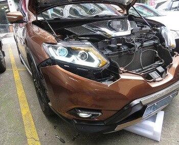 2PCS LED Scheinwerfer Für Nissan X-Trail 2017 Auto Led Lichter Doppel Xenon-Objektiv Auto Zubehör Tagfahrlicht lichter Nebel Lichter