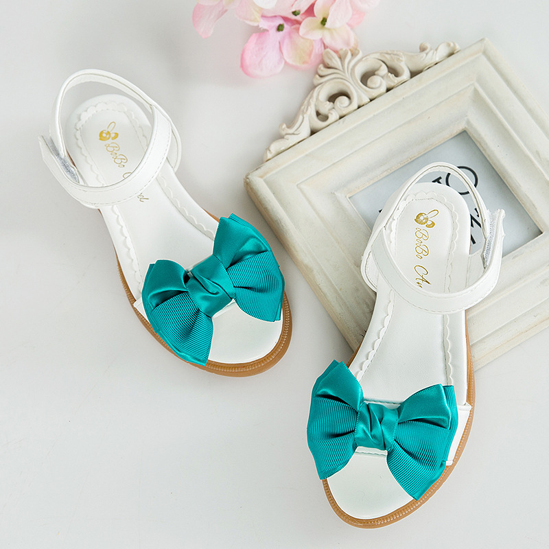 Childrens Spring And Summer New Bows Little High Heels Girls Soft Sole Sandals Slippers  ...