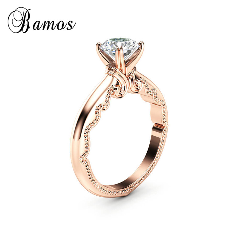 Bamos Simple White Round Zircon Solitaire Ring Vintage Rose Gold Color Engagement Jewelry Fashion Wedding Bands For Women