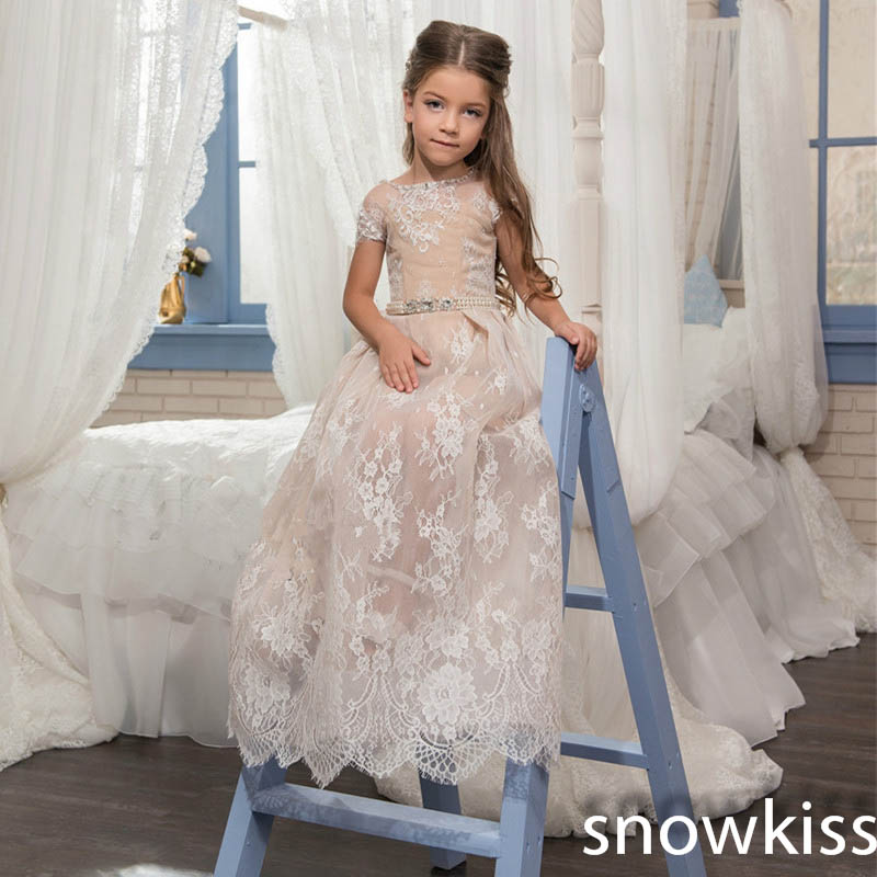 Champagn tulle flower girl dresses for weddings with lace appliques beaded toddler pageant dress birthday party evening gowns cute pink lace flower girl dresses sheer sleeves appliqued baby girl dress tiered toddler pageant birthday dress for party gowns