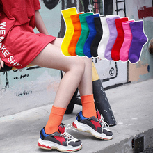 Fashion cotton womens socks cute candy color elastic tube stockings for women yellow purple green Korean style