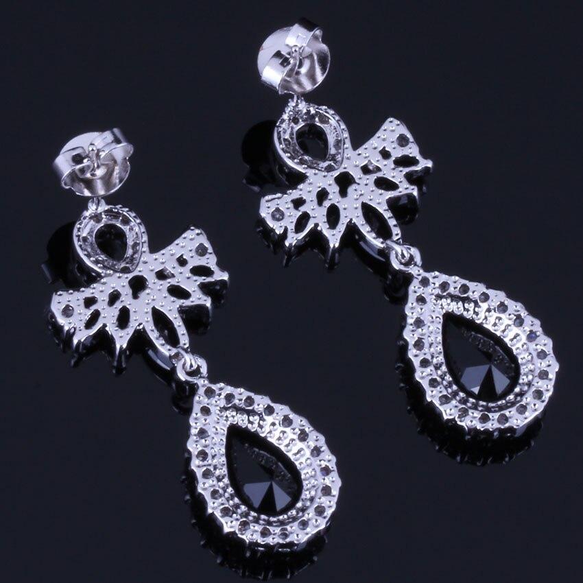 Jolly Water Drop Black Cubic Zirconia White CZ 925 Sterling Silver Drop Dangle Earrings For Women V0711 in Drop Earrings from Jewelry Accessories