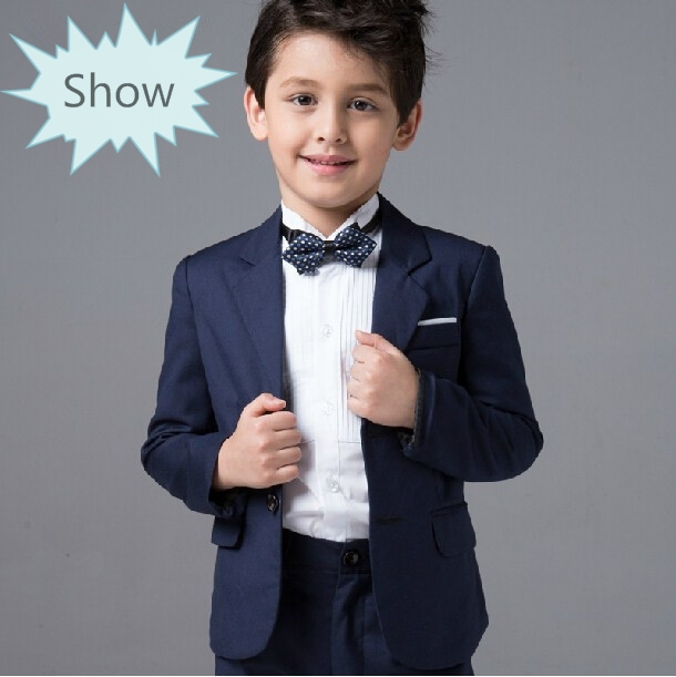 Fashion kids baby boys blazers suits formal blue clothing prom wedding casual spring summer costume flower boy The suits 2016 new arrival fashion baby boys kids blazers boy suit for weddings prom formal wine red white dress wedding boy suits