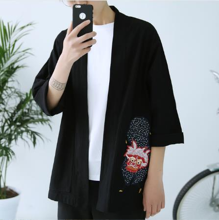 2018 summer Embroidery Japanese Harajuku Kimono Linen Shirt Men Swag Fashion Retro Origin Tops Brand Clothing