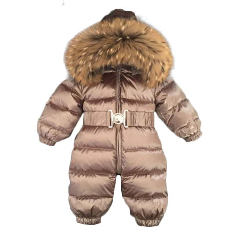 Baby Clothing Siamese down jacket Raccoon fur collar overall clothing baby rompers winter newborn down jackets 30#