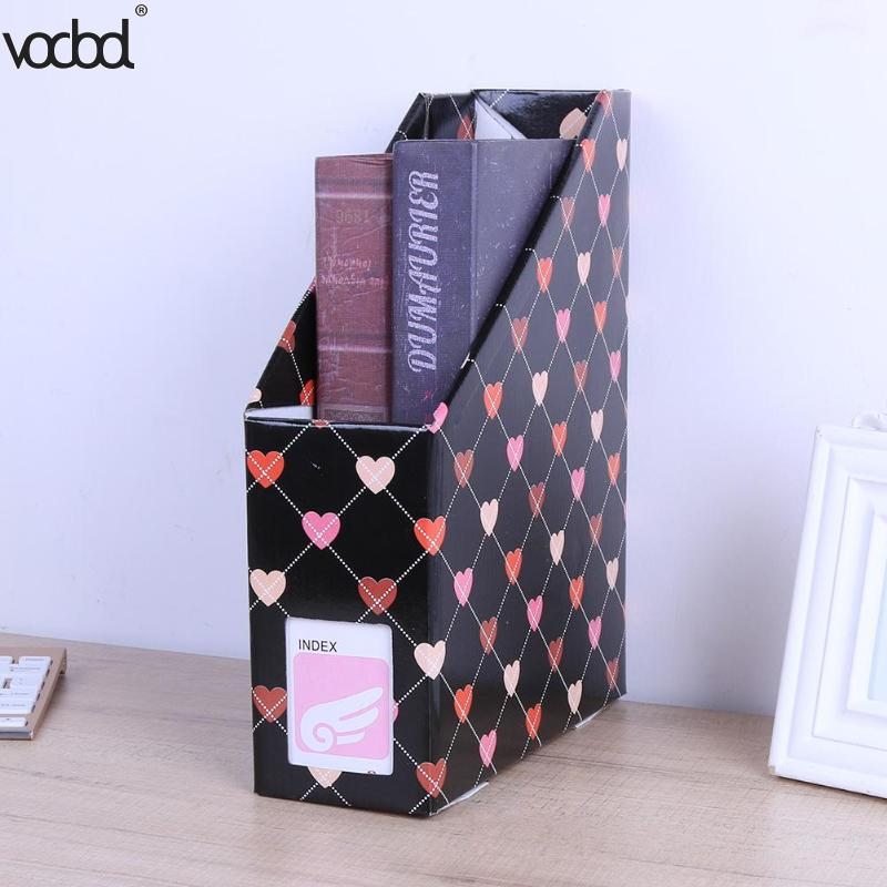Kawaii Heart Paper Storage Box Desk Organizer File Book Magazine Holder Container School Office Stationery Supplies Accessories