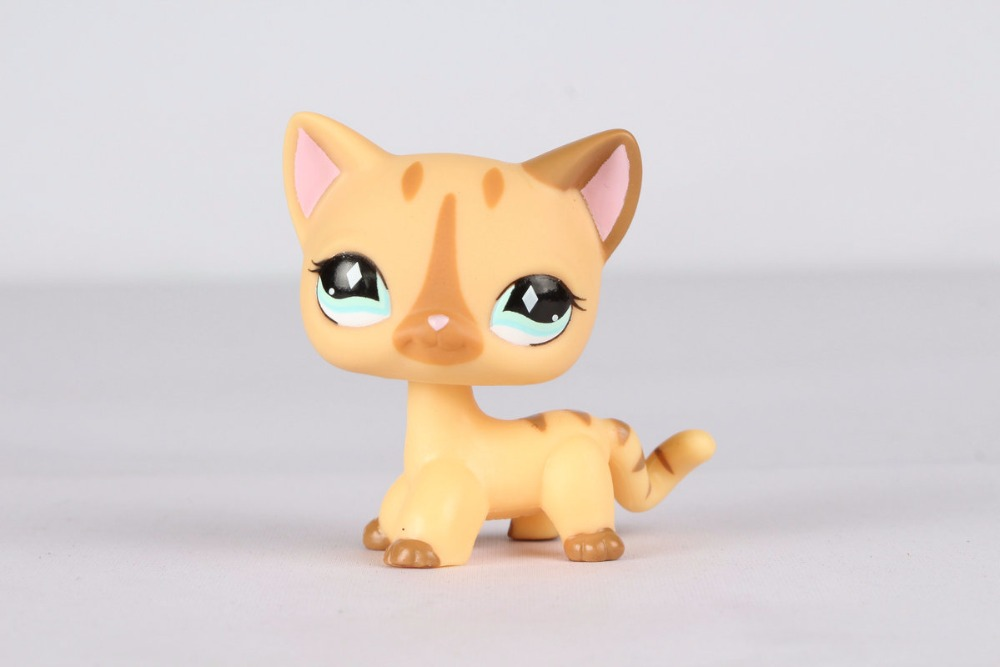 New pet Genuine Original LPS #886 Short Hair Cat Cream Stripe Kitty Diamond Eyes Kids Toys lovely pet collection lps figure toy black yellow short hair siamese cat blue eyes nice gift kids