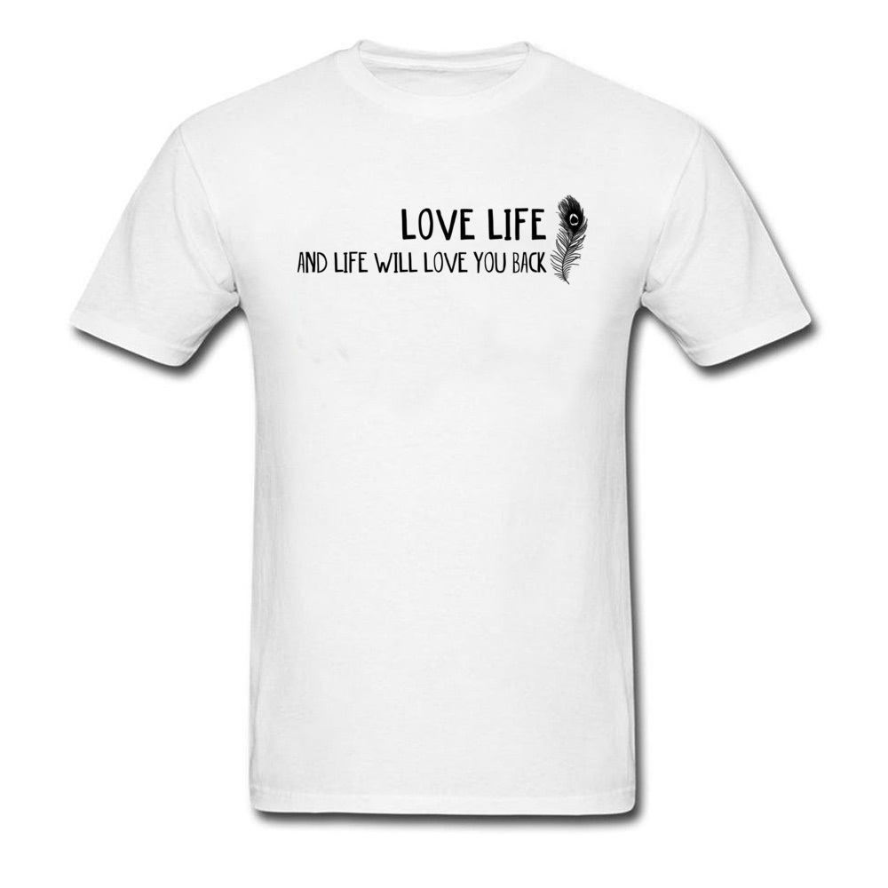 2018 New Men Tees Love Life Words T Shirt All Cotton Short Sleeve Normal Tee-Shirts Crew ...