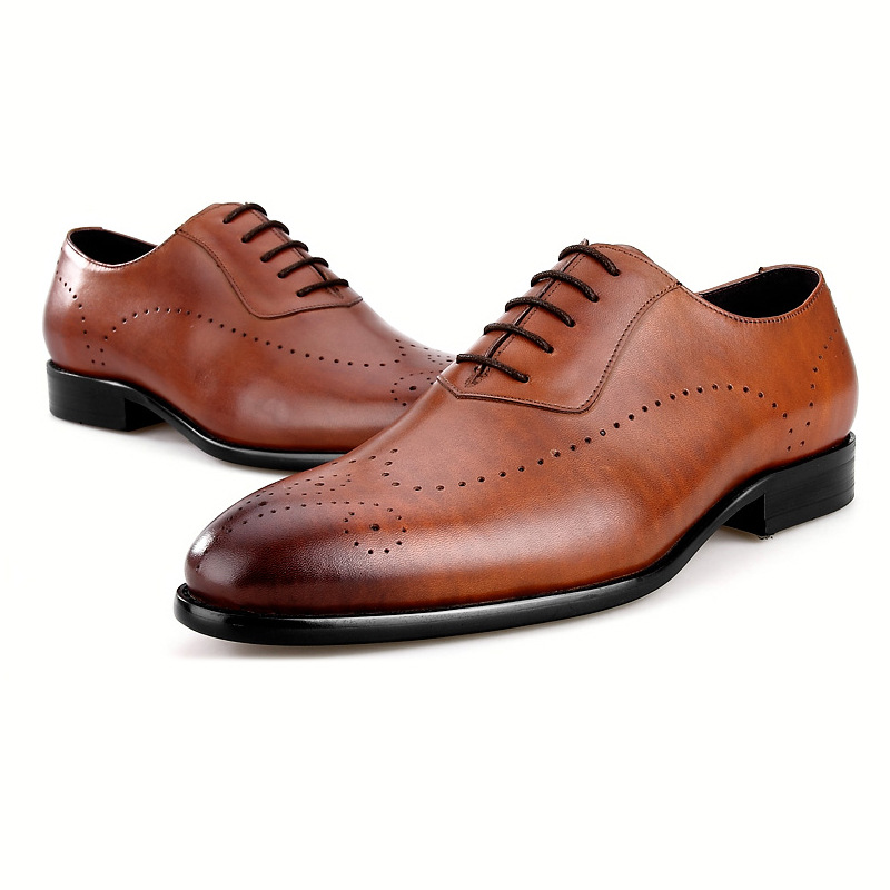 Quality Black / Brown Wedding Shoes Mens Dress Shoes Mens Genuine Leather Oxfords Male Business Shoes mycolen mens genuine leather shoes dress italian leather male shoes elevator glitter black brown business shoes four seasons