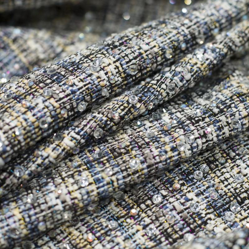 Top Kwaliteit Womens Diamonds Plaid Tweed Patchwork Denim Jassen Lange Mouwen Single Breasted Streetwear Vrouwelijke Bovenkleding Jassen - 5