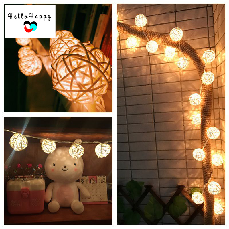 Xmas Fairy String Lights Balls Garland Lamps 4.5M AA Battery Rattan  Lamparas Patio Lights Christmas Lights Indoor Wedding Decor