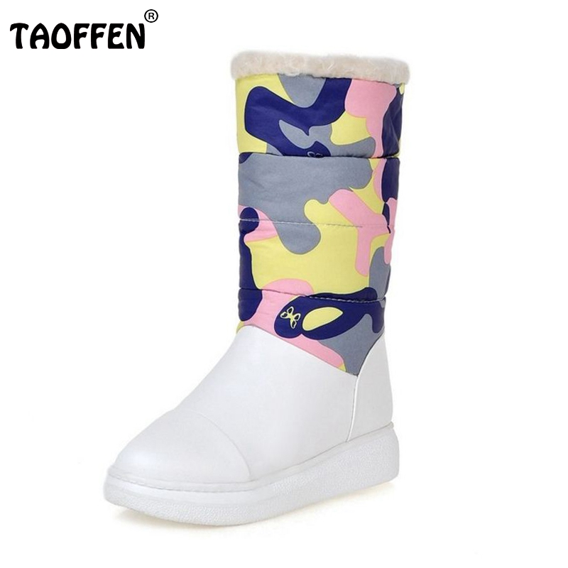 Women Flat Half Short Boot Shoes Woman Warm Winter Snow Boots Thickened Fur Plush Floral Botas  Footwear Shoes Size 34-43