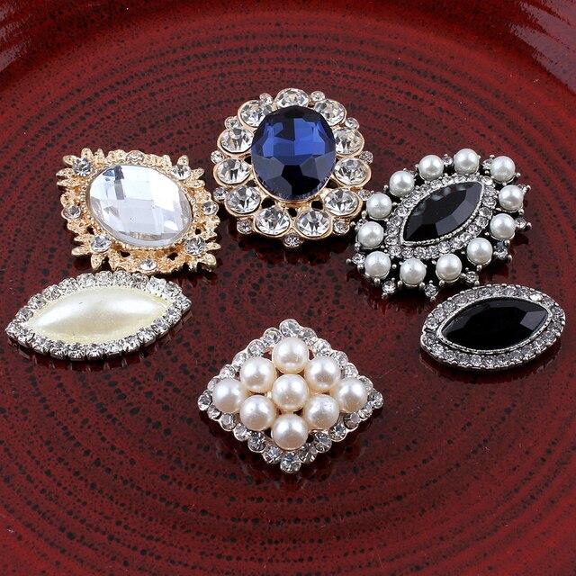 120PCS Vintage Handmade Flower Rhinestone Buttons Bling Flatback Crystal Pearl  Decorative Buttons Flower Center Craft Supplies 78cd5c9c6ea9