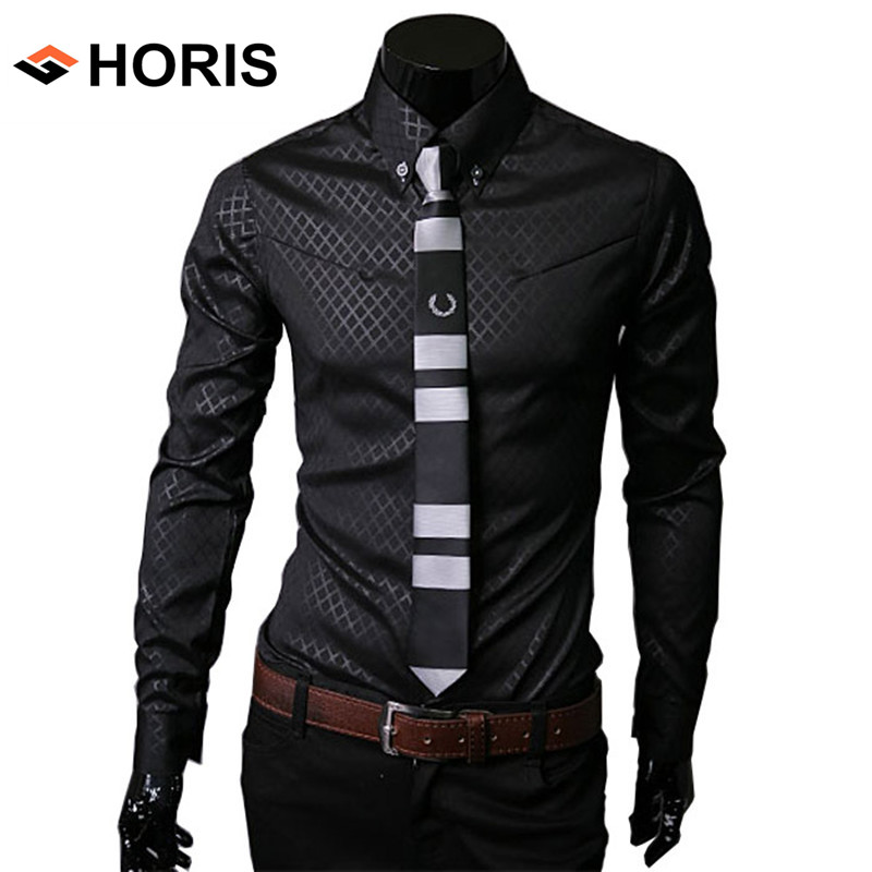 Mens Social Rhombic Plaid Dress Shirt Long Sleeve Luxury ...