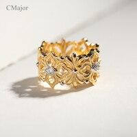 CMajor Sterling Silver Biżuteria Szczęście Garland Kwiat Winorośli Liście Vintage Hollow Pierścionki Dla Kobiet