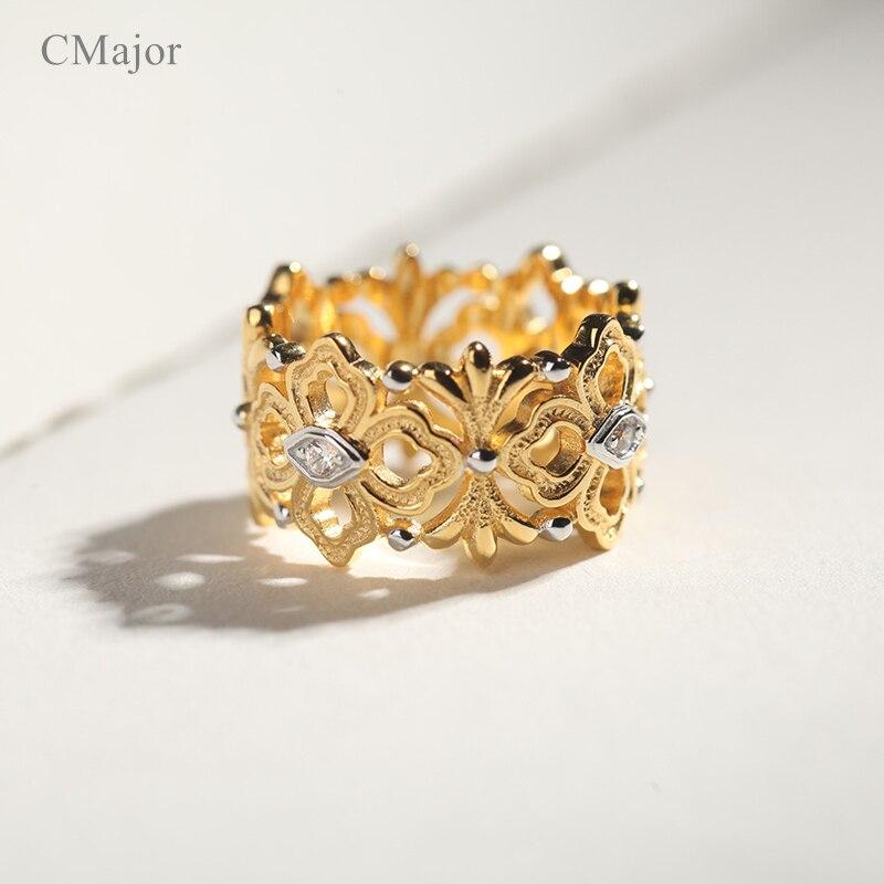 CMajor bijoux en argent Sterling chanceux guirlande fleur vigne feuilles Vintage creux anneaux pour les femmes