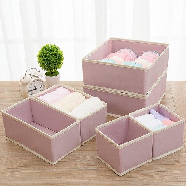 6 adet yeni Nonwoven saklama kabı katlanabilir çekmece içi bölme aparatı kapaklı dolap kutusu için bağları çorap sutyen iç çamaşırı giyim organizatör