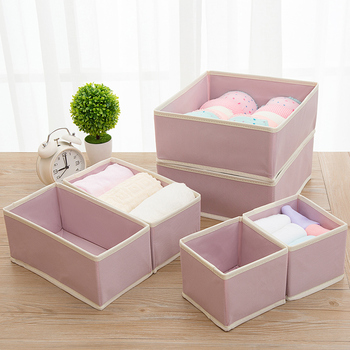 6PCS New Nonwoven Storage Container Foldable Drawer Divider Lidded Closet Box For Ties Socks Bra Underwear Clothing Organizer