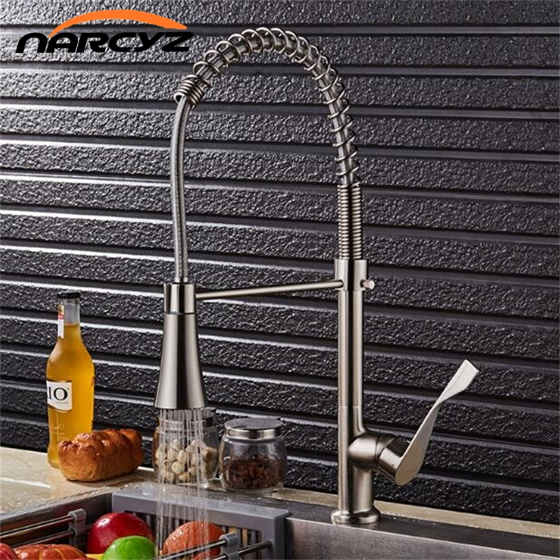 Kitchen Faucet Pull Out Spray Single Handle Swivel Spout Modern Brass Brushed Nickel Vessel Sink Mixer Tap Water Tap XT-71 newly chrome brass water kitchen faucet swivel spout pull out vessel sink single handle deck mounted mixer tap mf 302