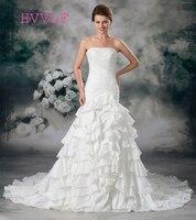 Plus Size 2017 Wedding Dresses Mermaid Strapless Taffeta Tiered Embroidery Boho Wedding Gown Bridal Dresses Vestido