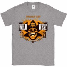 The Wild West At It's Best Cowboy Sheriff Skull Mens T-Shirt Hot 2018 Summer Men'S T Shirt Fashion Funny O-Neck Tshirt