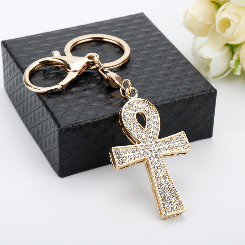 dongsheng Fashion Mystic Egyptian Ankh Cross Rose Gold Crystal Charm  Pendant Keychain for Woman Handmade Metal Keychain Gift 50-in Key Chains  from