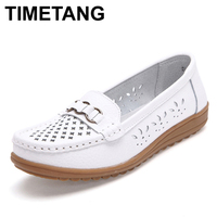Women Shoes Genuine Leather Cut Out Flat Black White Nurse Shoes Woman Breathable Slip On Loafers