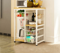 YONTREE 1 PC Multilayer Microwave Oven Rack Multifunctional Kitchen Storage Shelf Stock in US