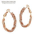 Neoglory Czech Rhinestone Rose Gold Plated Charm Hoop Earrings for Women Exquisite Fashion Jewelry  2017 New Gift GO