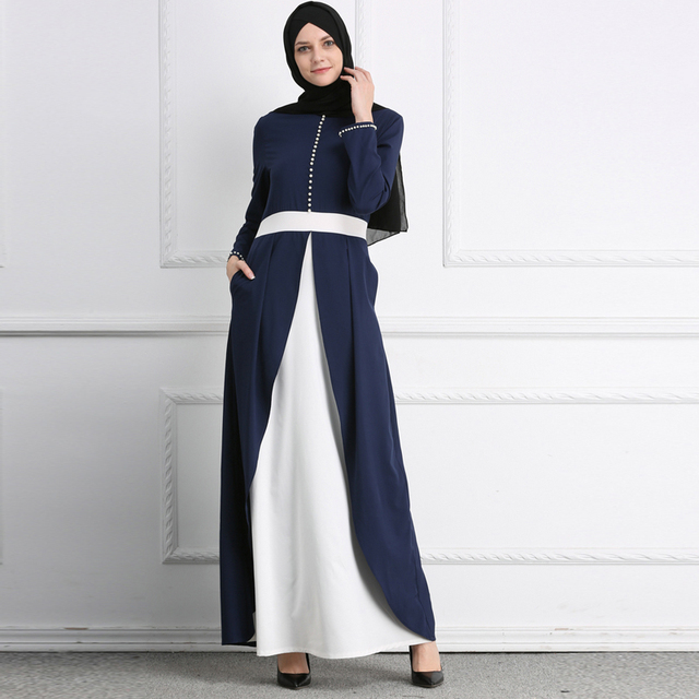 c5b58a1de11 Vestidos 2019 Abaya Dubai Kaftan Long Patchwork Pearl Muslim Dress Women  Elbise Turkish Islamic Clothing Hijab