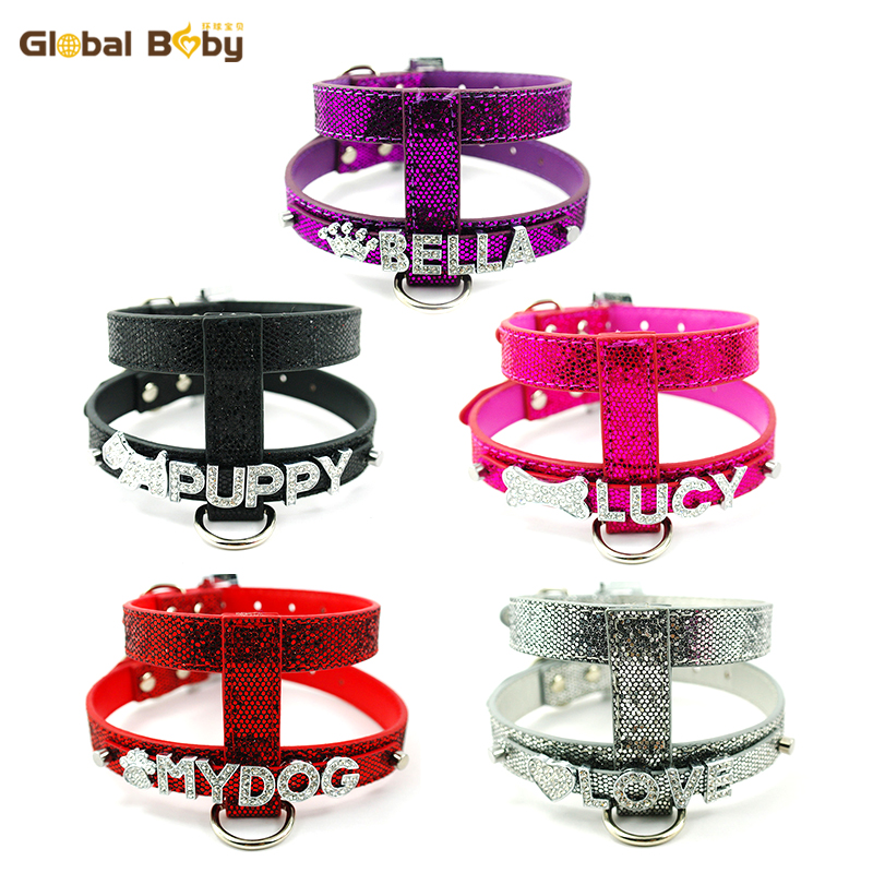 Fashion Bright Leather 10MM Sliders Personalized Name Dog Pet Harness Matched Leashes Lead