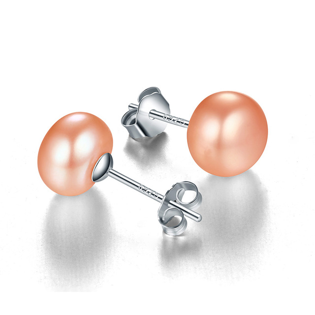 925 Sterling Silver Stud Earrings with Natural Freshwater Pearl