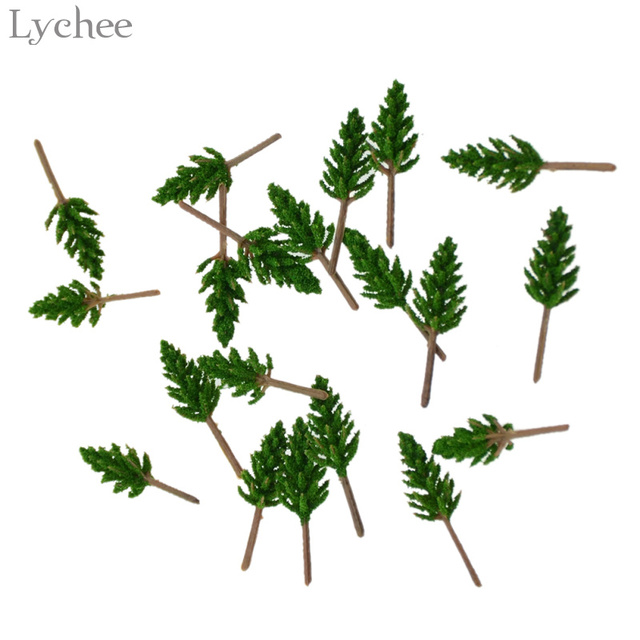 Lychee 20pcs Mini Plastic Model Tree Scenery Landscape Zen Garden Figurines Miniatures Home Decoration