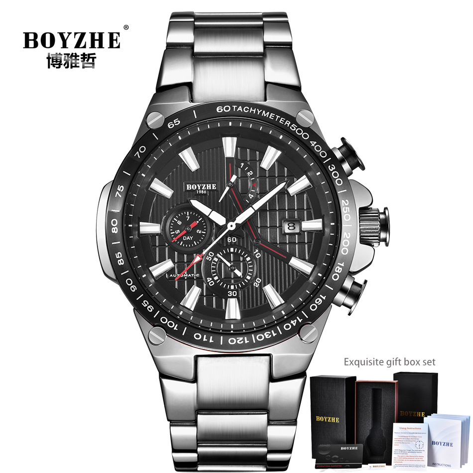 BOYZHE Chronograph Automatic Watch Men Luxury Brand Mechanical Watches Man Stainless Steel Sports montre homme reloj