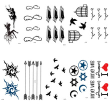 HC51-75 Multi Color Women Sexy Finger Flash Fake Tattoo Stickers Liberty Small Birds Flying Waterproof Temporary Tattoos Sticker