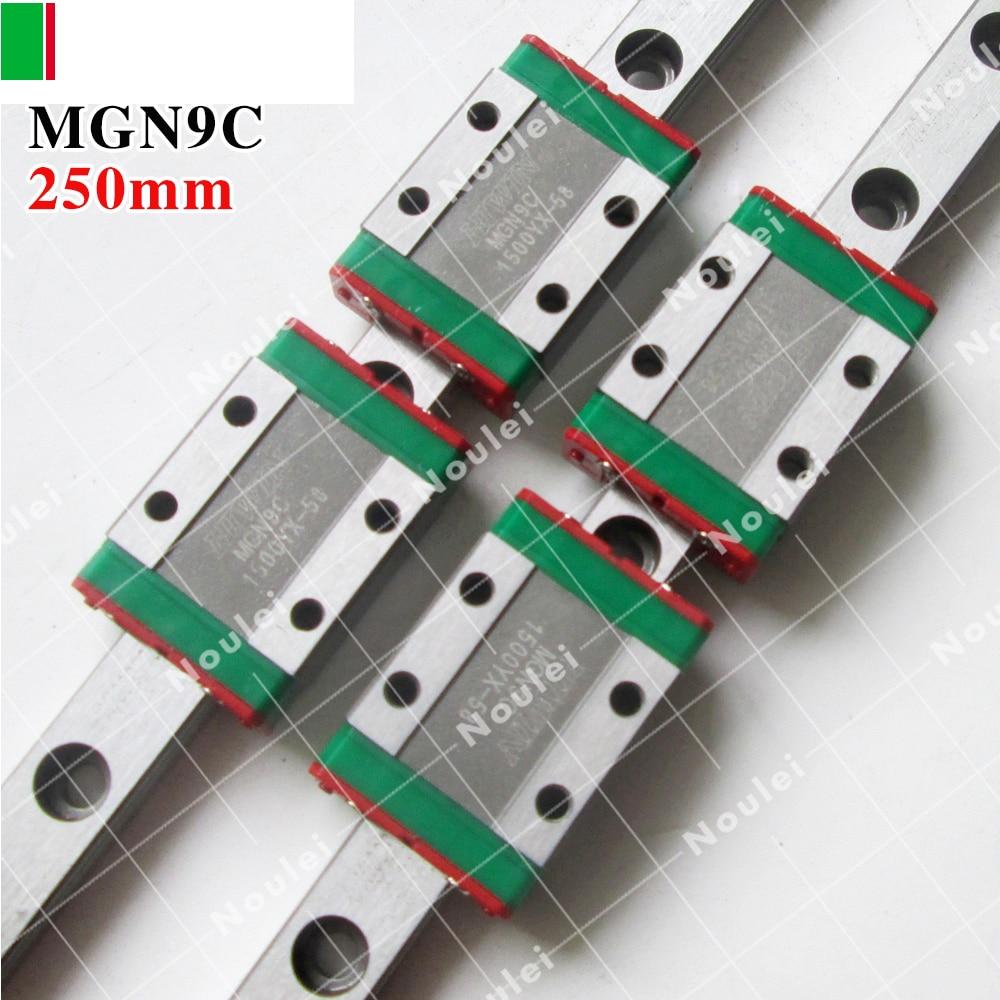 HIWIN MGN9 250mm linear guide rail with MGN9C slide blocks stainless steel MGN 9mm kossel mini diy se535 earphone