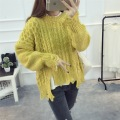 H.SA 2017 Women Spring Pollover and Jumpers Oneck Irregular Sweater Jumpers Long Sleeve Broken Vintage Girls Pullovers Mujer