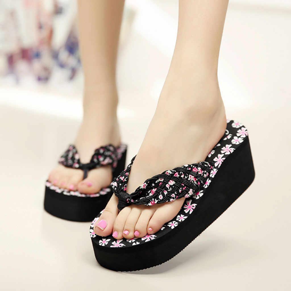Women Platform Wedge Sandals Solid Flip Flops Casual Summer Beach Slippers Shoes